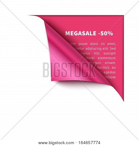 Corner white torn paper with pink background for your design. Realisric vector curved corner for sale and promo advertising, banner