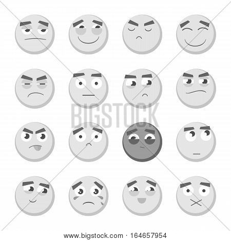 Monochrome emoticon set. Collection of Emoji. 3d emoticons. Smiley face icons isolated on white background. Graphic illustration