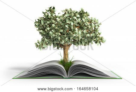 Tree Growing From Book A Big Open Book With Coins And Tree Reading Makes You Richer Concept 3D Rende