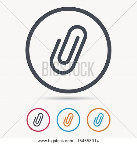 Attachment icon. Paper clip symbol. Colored circle buttons with flat web icon. Vector