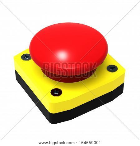 Red emergency stop button isolated on white background 3D rendering