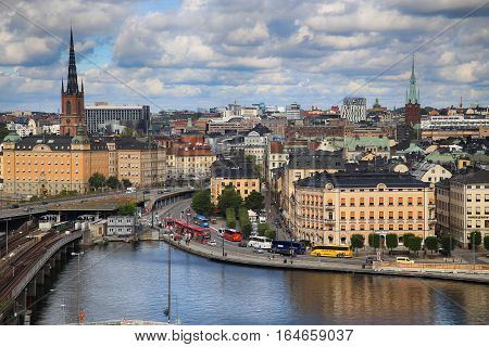 STOCKHOLM SWEDEN - AUGUST 20 2016: Aerial view of Stockholm from Great lookout point Katarinahissen built 1883. (Katarina Elevator) in Stockholm Sweden on August 20 2016.