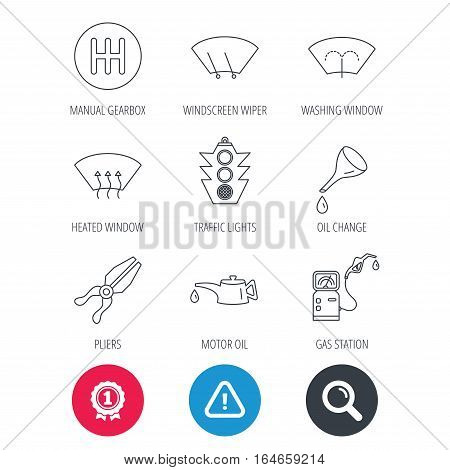Achievement and search magnifier signs. Motor oil change, traffic lights and pliers icons. Gas station, heated window and manual gearbox linear signs. Washing window icons. Hazard attention icon