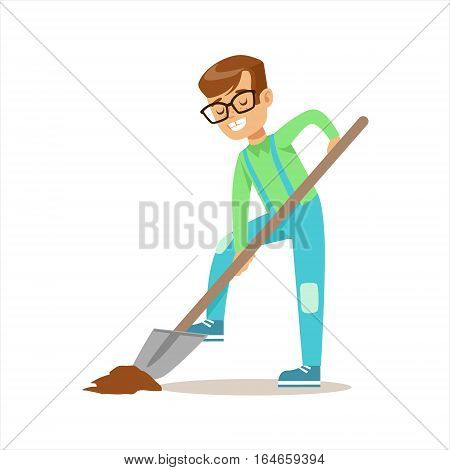 Boy Digging With Shovel Helping In Eco-Friendly Gardening Outdoors Part Of Kids And Nature Series. Happy Child Interacting With Nature And Participating In Garden Clean-up Procedures Vector Illustration.