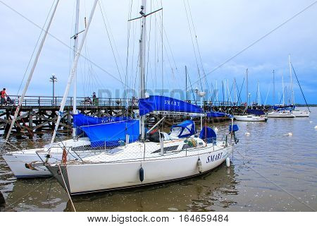 Colonia, Uruguay - December 7: Sailboats Anchored At The Port On December 7, 2014 In Colonia Del Sac