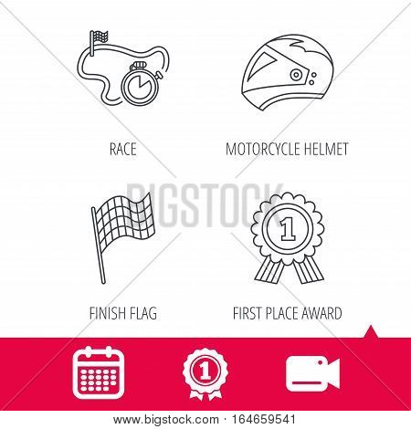 Achievement and video cam signs. Race flag, motorcycle helmet and award medal icons. Start or finish flag linear sign. Calendar icon. Vector