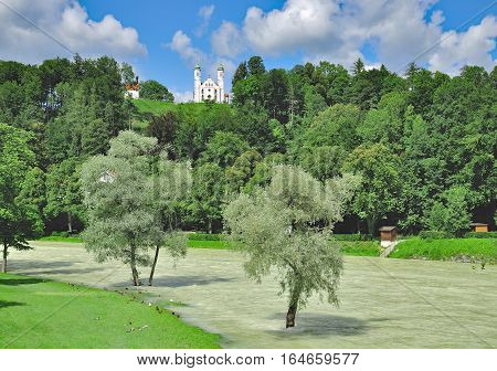 View to River Isar and Calvary Hill in Bad Toelz,upper Bavaria,Germany