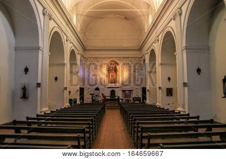 Colonia, Uruguay - December 7: Interior Of Basilica Of The Holy Sacrament On December 7, 2014 In Col