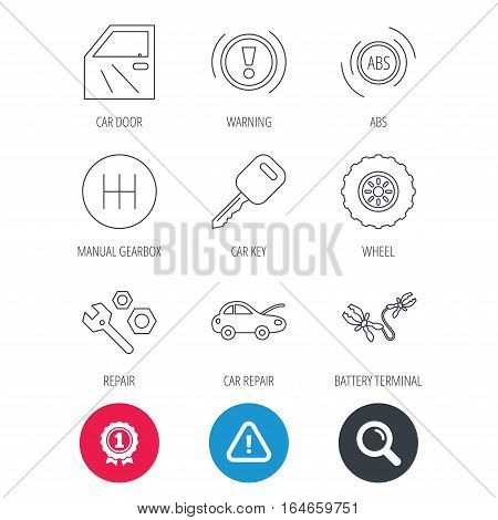 Achievement and search magnifier signs. Car key, repair tools and manual gearbox icons. Wheel, warning ABS and battery terminal linear signs. Hazard attention icon. Vector