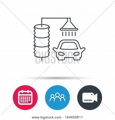 Automatic carwash icon. Cleaning station sign. Group of people, video cam and calendar icons. Vector