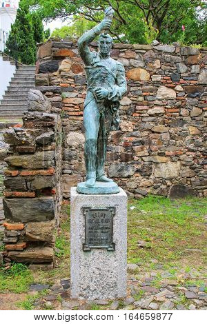 Colonia, Uruguay - December 7: Statue At Casa Del Virrey On December 7, 2014 In Colonia Del Sacramen