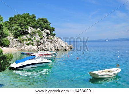 coastal Landscape in Brela at Makarska Riviera,adriatic Sea,Dalmatia,Croatia