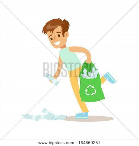 Boy Picking Up Recycle Plastic Bottles Helping In Eco-Friendly Gardening Outdoors Part Of Kids And Nature Series. Happy Child Interacting With Nature And Participating In Garden Clean-up Procedures Vector Illustration.
