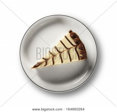 Souffle with chocolate on white background. Dutch pie.