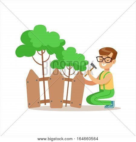 Boy Building Wooden Fence Around Plants Helping In Eco-Friendly Gardening Outdoors Part Of Kids And Nature Series. Happy Child Interacting With Nature And Participating In Garden Clean-up Procedures Vector Illustration.
