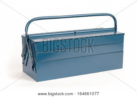 Blue steel toolbox closed on white background