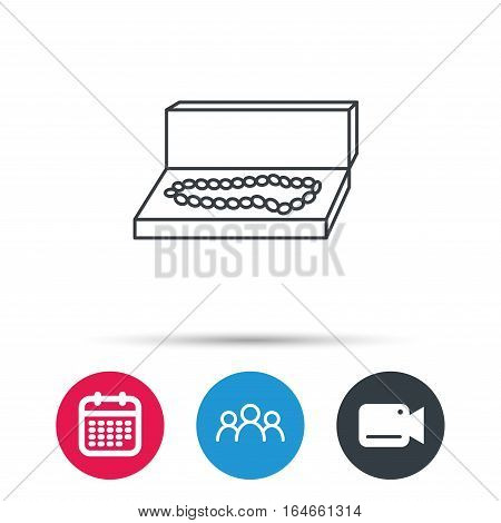 Jewellery box icon. Luxury precious sign. Group of people, video cam and calendar icons. Vector