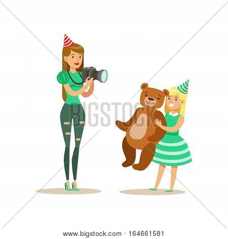 Woman Taking Pictures With Girl And Teddy Bear, Kids Birthday Party Scene With Cartoon Smiling Character. Part Of Children And Festive Celebration Attributes Series Of Vector Illustrations