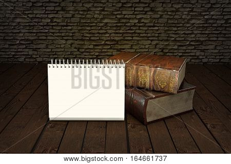 Tow old books isolated on wooden table with copy space. Vintage antiquarian books. Back to school education concept. 3D illustration