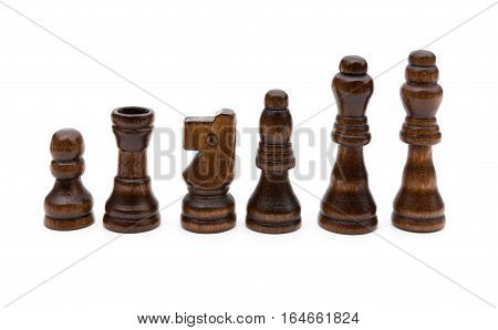brown chesses line up on a white background