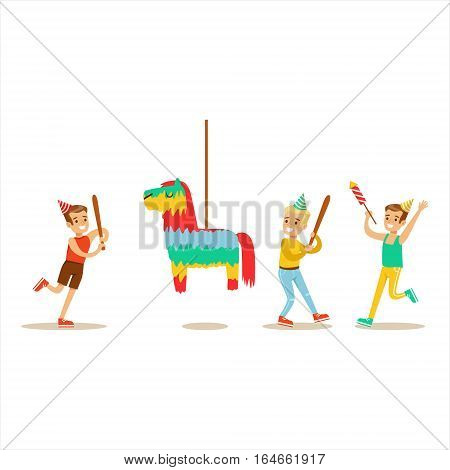Kids Playing With Horse Shaped Pinata, Kids Birthday Party Scene With Cartoon Smiling Character. Part Of Children And Festive Celebration Attributes Series Of Vector Illustrations