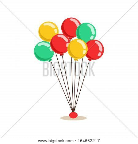Bunch Of Flying Helium Multicolor Party Balloons, Kids Birthday Party Scene With Cartoon Smiling Character. Part Of Children And Festive Celebration Attributes Series Of Vector Illustrations