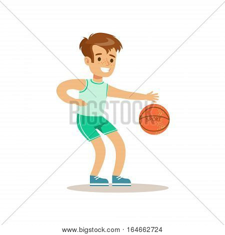 Boy Playing Basketball, Kid Practicing Different Sports And Physical Activities In Physical Education Class. Athletic Teenager Happy To Do Sportive Training Cartoon Vector Illustration.