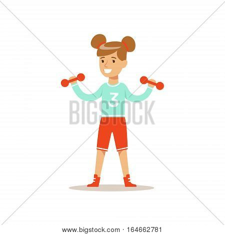 Girl Doing Exercises With Dumbbells, Kid Practicing Different Sports And Physical Activities In Physical Education Class. Athletic Teenager Happy To Do Sportive Training Cartoon Vector Illustration.