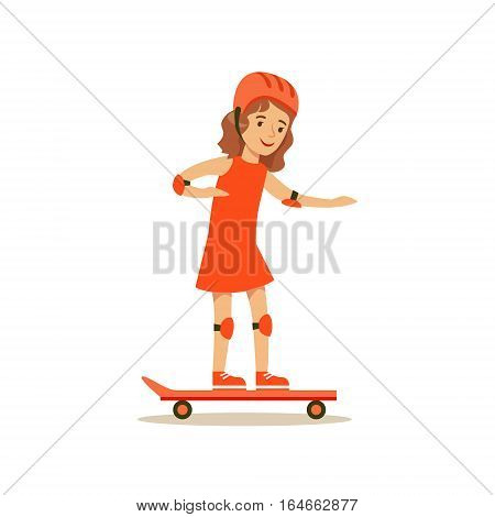 Girl Skateboarding, Kid Practicing Different Sports And Physical Activities In Physical Education Class. Athletic Teenager Happy To Do Sportive Training Cartoon Vector Illustration.