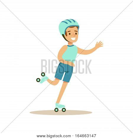 Boy Roller Skating, Kid Practicing Different Sports And Physical Activities In Physical Education Class. Athletic Teenager Happy To Do Sportive Training Cartoon Vector Illustration.