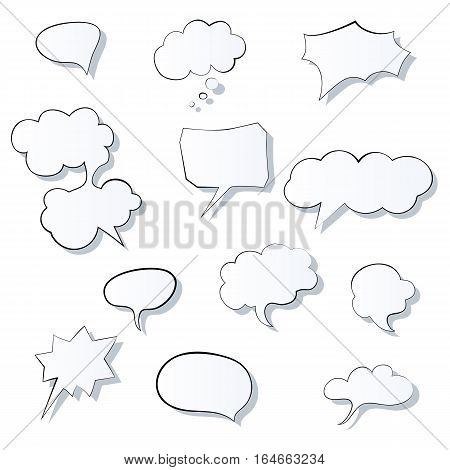 Set of comic 3d speech bubbles icon. Thought bubble image. Graphic illustration