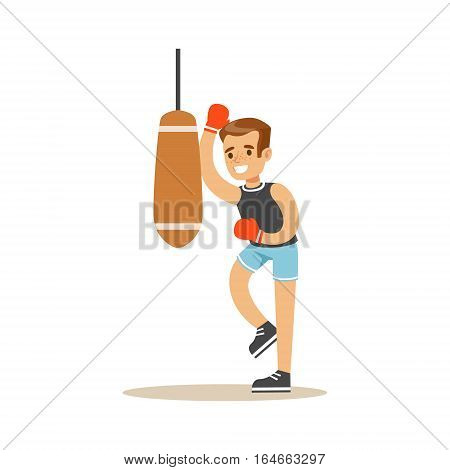 Boy Boxing With Punch Bag, Kid Practicing Different Sports And Physical Activities In Physical Education Class. Athletic Teenager Happy To Do Sportive Training Cartoon Vector Illustration.