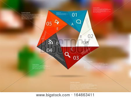Illustration infographic template with motif of color origami pentagon consists of five sections with simple signs. Blurred photo with financial motif (coins money estate items) is used as background.