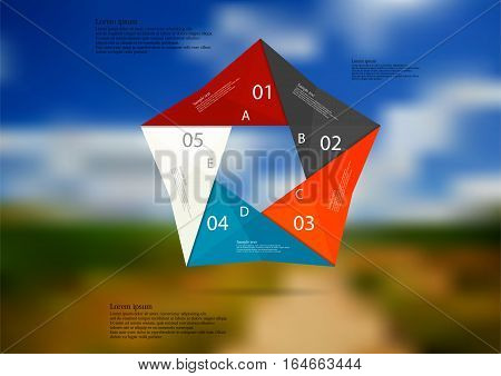 Illustration infographic template with motif of color origami pentagon consists of five sections with simple signs. Blurred photo with natural motif with path between fields is used as background.