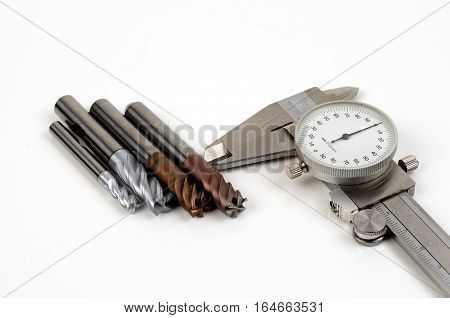 Metal milling tools for cnc machine on white background