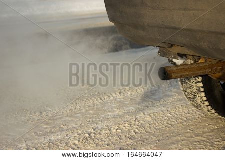 Car Exhaust Pipe, A Car's Fumes Emissions Winter