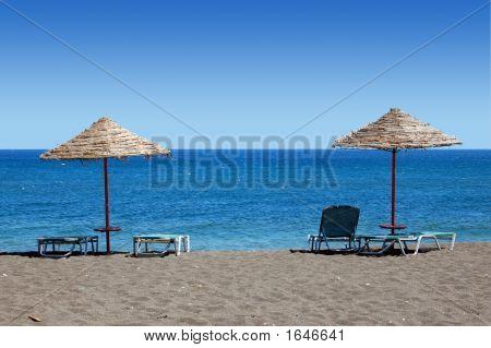 Black Beach Umbrellas - Greece