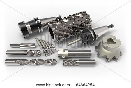 Metal milling tools for cnc machine on white background 3D rendering