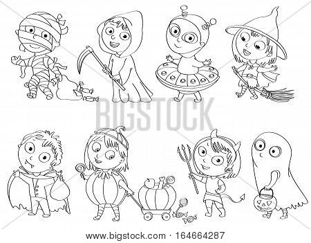 Happy Halloween. Funny little children in colorful costumes. Dracula, Grim Reaper, Devil, mummy, alien, witch, ghost. Coloring book. Vector illustration