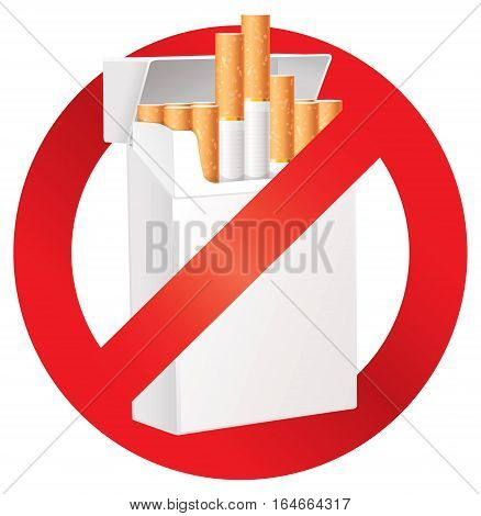 No smoking. On the dangers of smoking. Cigarette pack. Prohibitory sign. Isolated on white background. Vector illustration eps 10