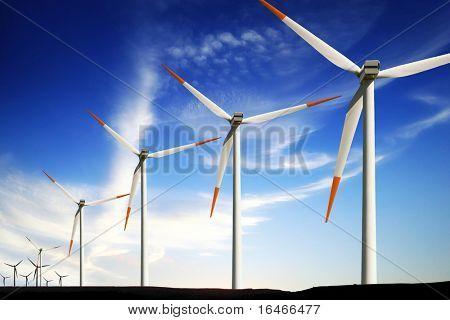 Wind turbines farm, alternative energy