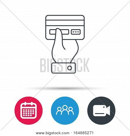 Credit card icon. Giving hand sign. Cashless paying or buying symbol. Group of people, video cam and calendar icons. Vector