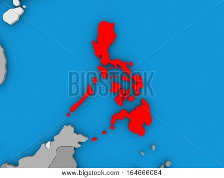 Philippines In Red On Globe