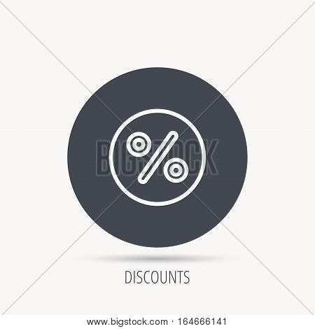 Discount percent icon. Sale sign. Special offer symbol. Round web button with flat icon. Vector