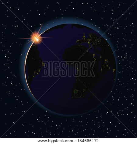 Earth sunrise vector illustration. Asia and Australia night from space.