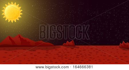 Space illustration vector background. Mars red surface with star sky