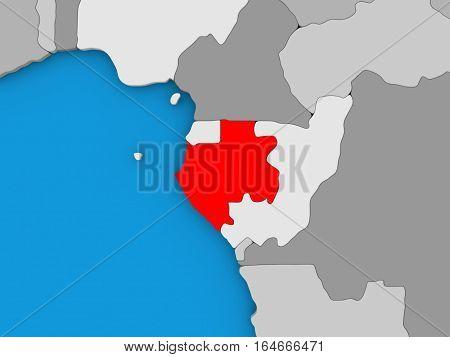 Gabon In Red On Globe