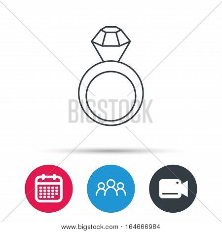 Engagement ring icon. Jewellery with diamond sign. Group of people, video cam and calendar icons. Vector