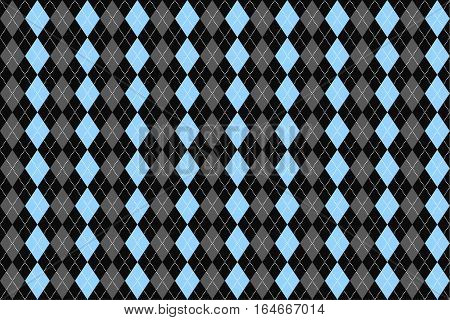 Classic argyle seamless pattern for textile, paper print. Vector illustration. Blue grey