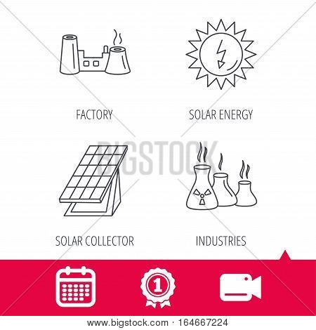 Achievement and video cam signs. Solar collector energy, factory and industries icons. Solar energy linear signs. Calendar icon. Vector